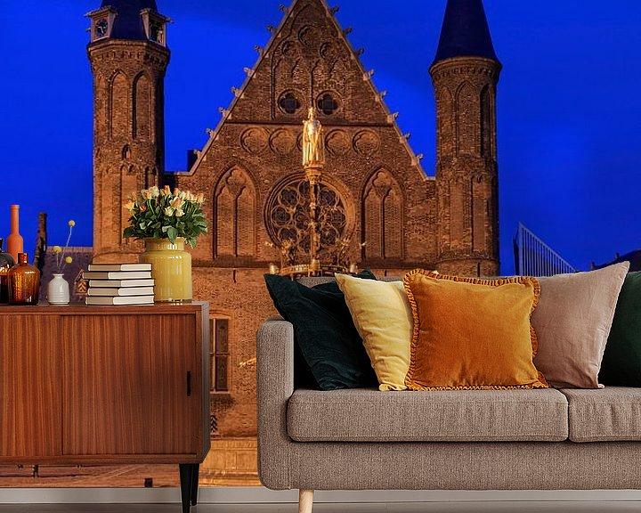 Sfeerimpressie behang: avondopname van de Ridderzaal op het Binnenhof in Den Haag van gaps photography