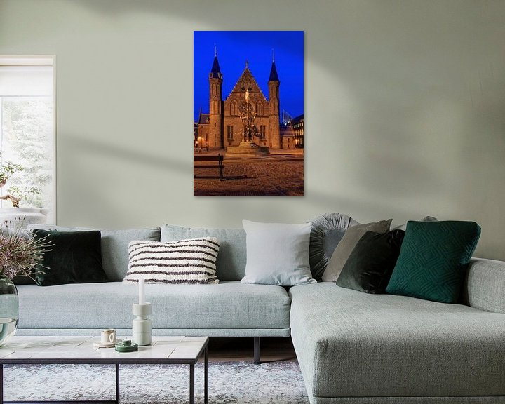 Sfeerimpressie: avondopname van de Ridderzaal op het Binnenhof in Den Haag van gaps photography