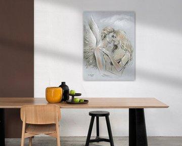 Engel auf Erden - Engel Malerei von Marita Zacharias