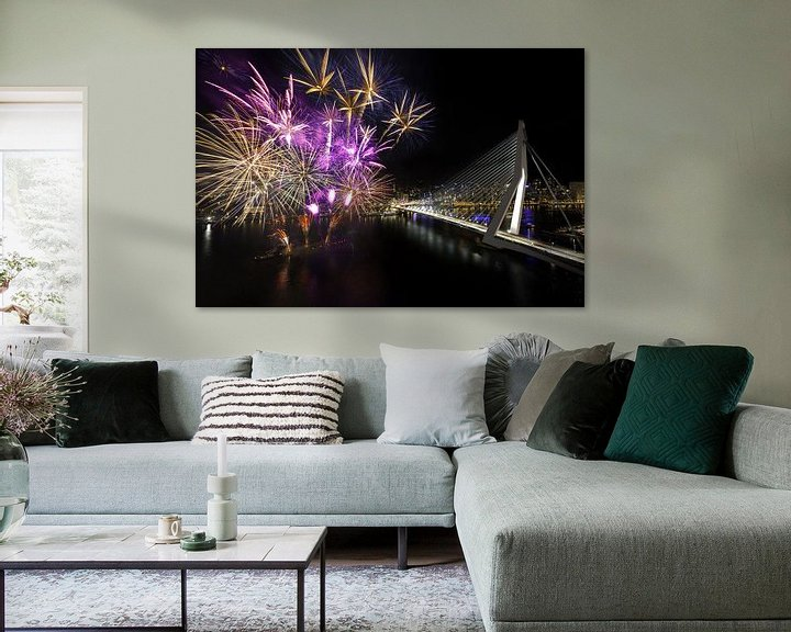 Sfeerimpressie: Vuurwerk Erasmusbrug Rotterdam van Prachtig Rotterdam