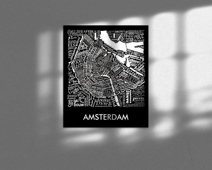 Impression: Amsterdam schwarz-weiß typografisch: Karte mit A'dam Turm sur Muurbabbels Typographic Design