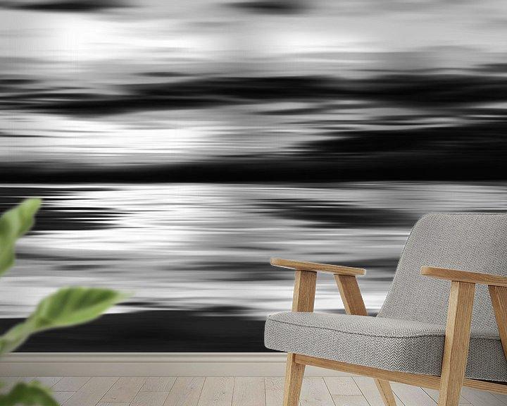 Sfeerimpressie behang: Zwart wit abstracte schilderij van Jan Brons
