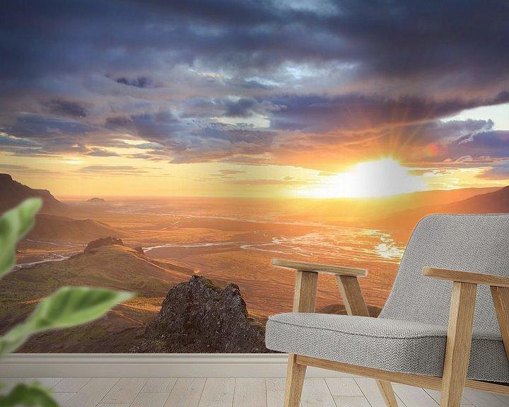 Sfeerimpressie behang: Valahnùkur sunset van Sander van der Werf