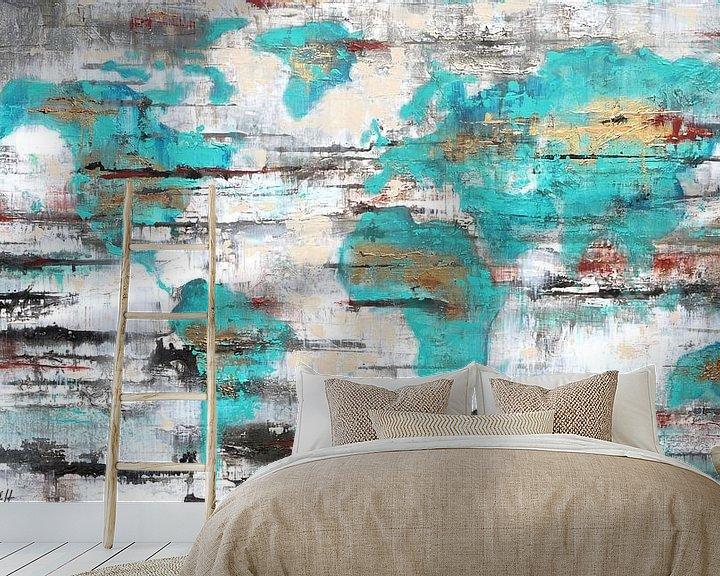 Sfeerimpressie behang: Worldmap van Atelier Paint-Ing