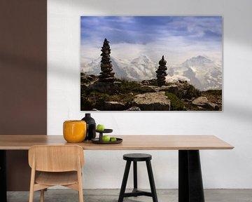 Steenmannetjes op berg in Alpen van Michel Vedder Photography
