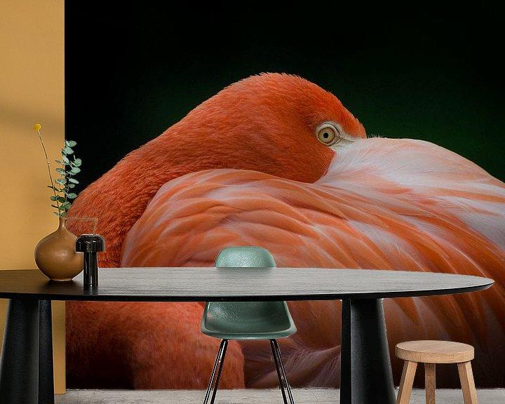 Sfeerimpressie behang: Flamingo  van Eduard van Holland