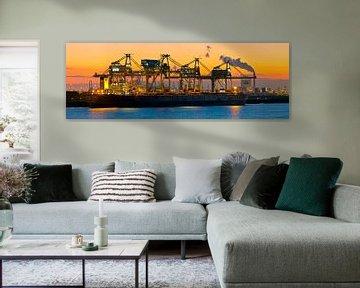 Port de Rotterdam Panorama; Mega Vraquier Berge Stahl