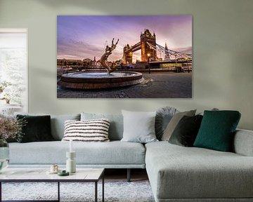 Zonsondergang bij de London Tower Bridge von Kevin van Deursen