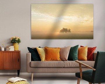 zonsopgang met mist van Dirk van Egmond
