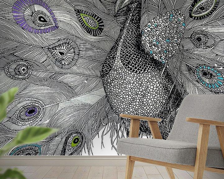 Sfeerimpressie behang: Pauww van Yvonne Jansen