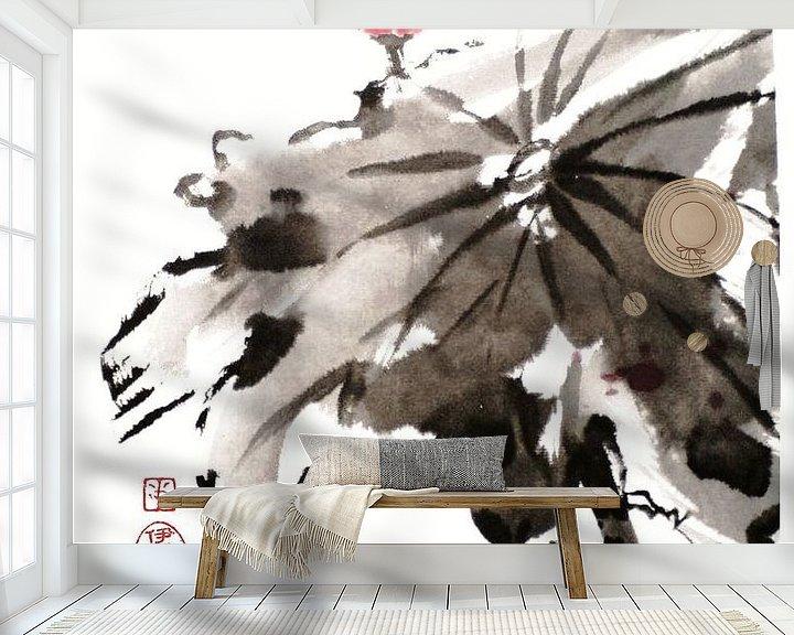 Sfeerimpressie behang: Lotus van Yvonne Jansen