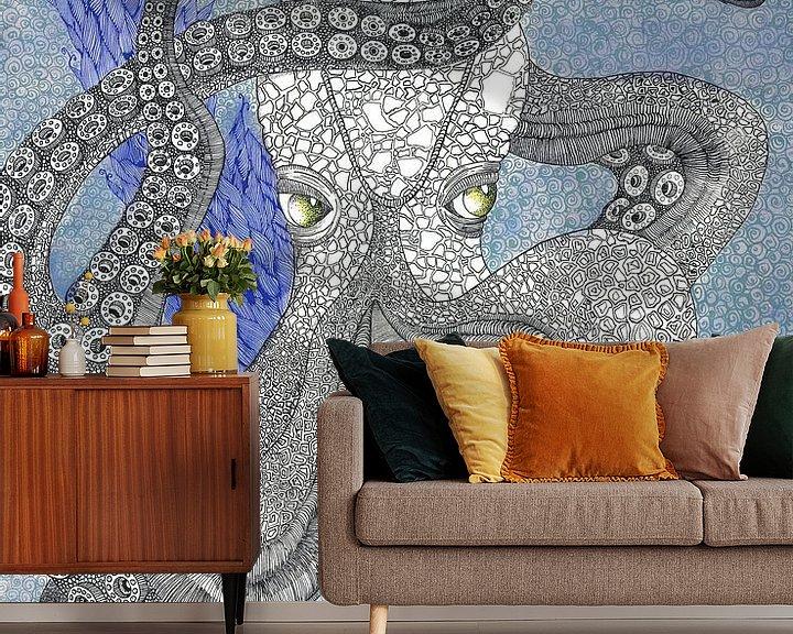 Sfeerimpressie behang: Inktvis van Yvonne Jansen