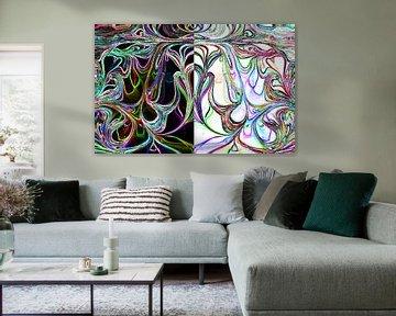 Zwart Wit Neon Bloem Marmer 1 von Sophie van Holland