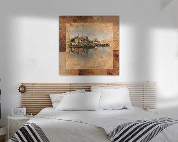 Haven Volendam in bruin van Dutch Art
