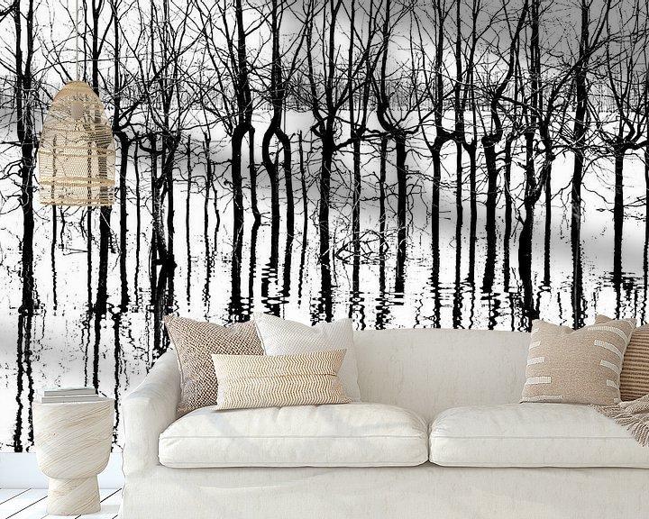 Sfeerimpressie behang: A bunch of black lines van Harald Harms