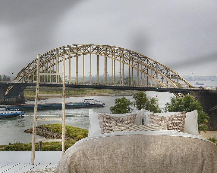 Sfeerimpressie behang: Waalbrug in Nijmegen van Fotografie Jeronimo