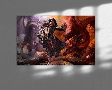Fantasy Dragons and Woman