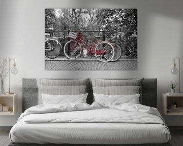 Rode fiets op brug Utrecht van David Klumperman