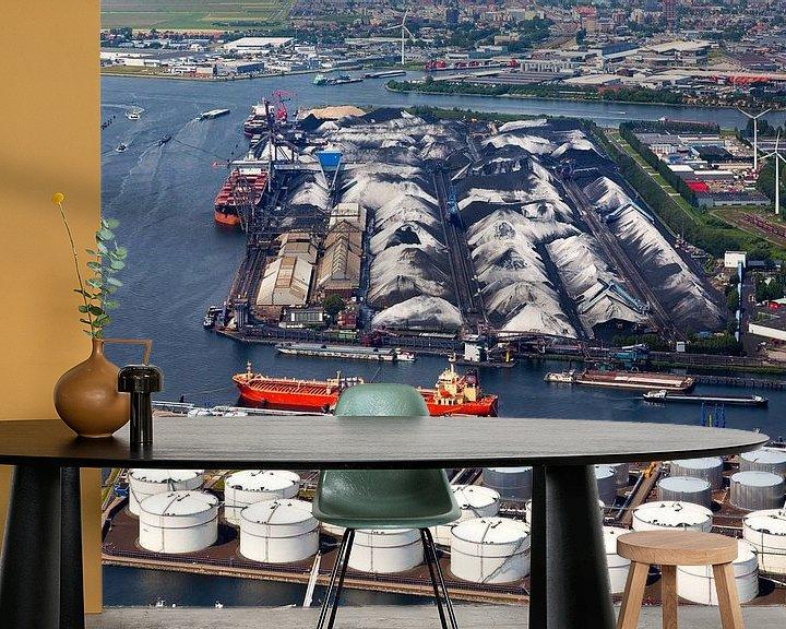 Sfeerimpressie behang: Luchtfoto haven van Amsterdam van Anton de Zeeuw