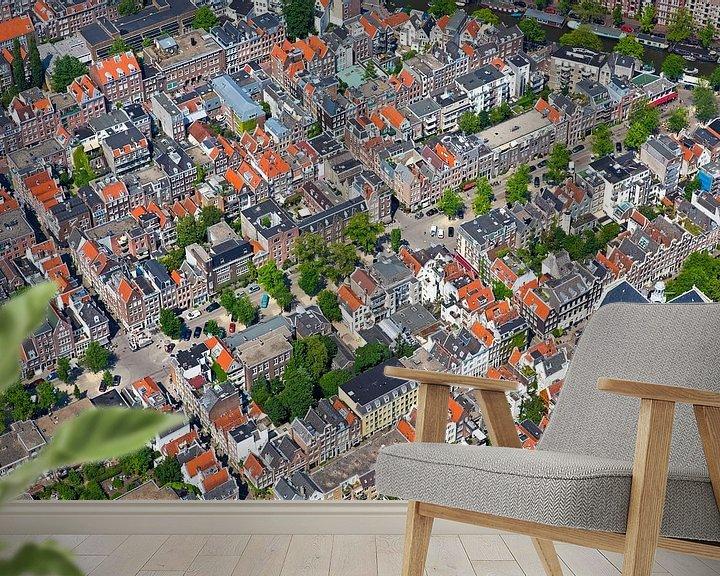 Sfeerimpressie behang: Luchtfoto van de Jordaan te Amsterdam van Anton de Zeeuw