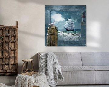 Collage met Zeilboot en de vuurtoren van Monika Jüngling
