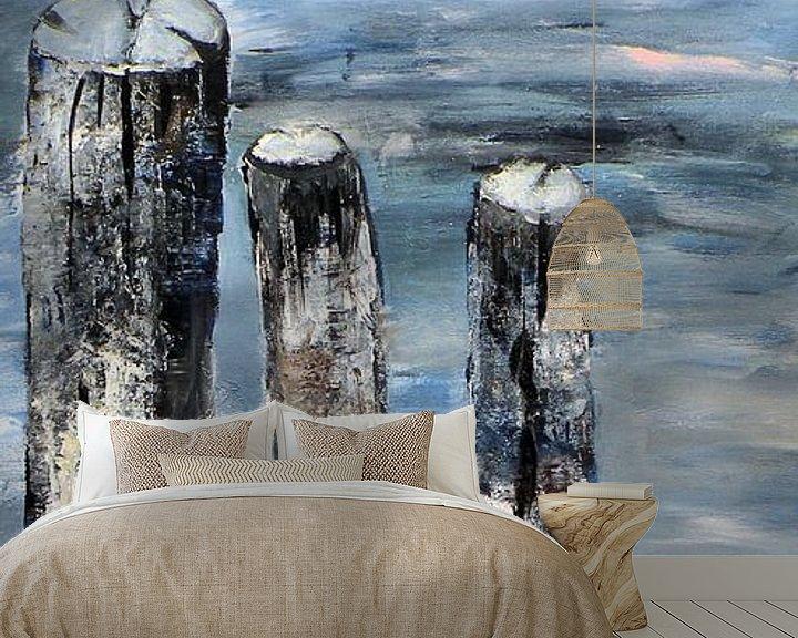 Sfeerimpressie behang: Strandpalen van Rita Tielemans
