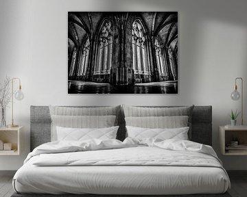 Kloostergang Dom, Utrecht (zwart wit) van Lex Schulte