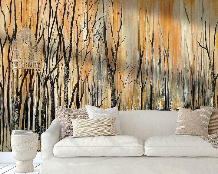 Sfeerimpressie behang: Berkenbos van Rita Tielemans