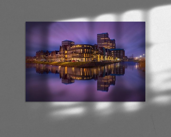 Sfeerimpressie: Vathorst Skyline 's avonds van Albert Dros