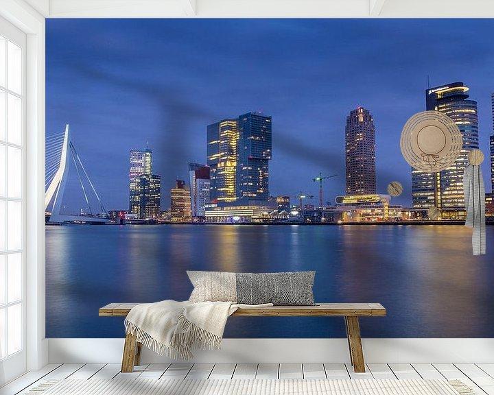 Sfeerimpressie behang: Rotterdam Skyline @ Night van Jack Tet