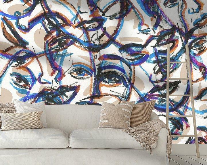 Sfeerimpressie behang: Menigte van ART Eva Maria