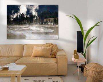 ochtend mist in Yellowstone van Antwan Janssen