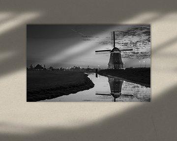 Windmolen Volendam Zwart wit van Chris Snoek