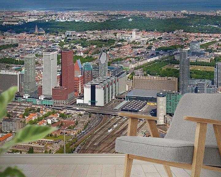 Sfeerimpressie behang: Luchtfoto panorama Skyline Den Haag van Anton de Zeeuw