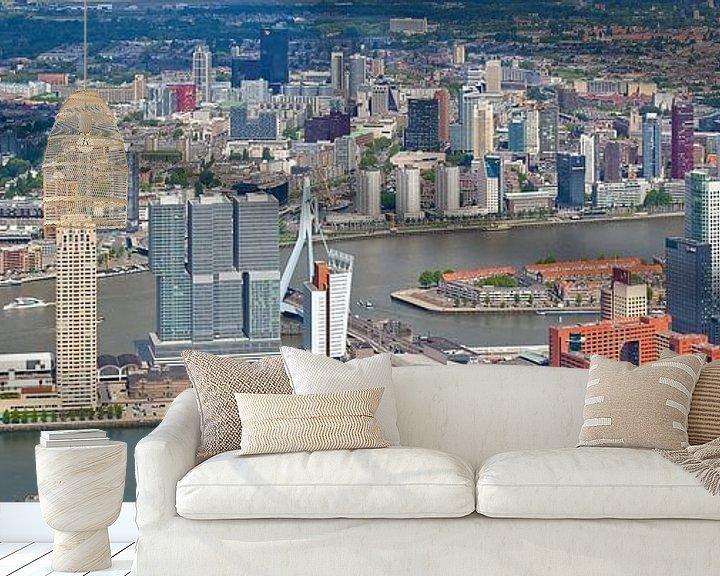 Sfeerimpressie behang: Luchtfoto panorama Skyline Rotterdam van Anton de Zeeuw
