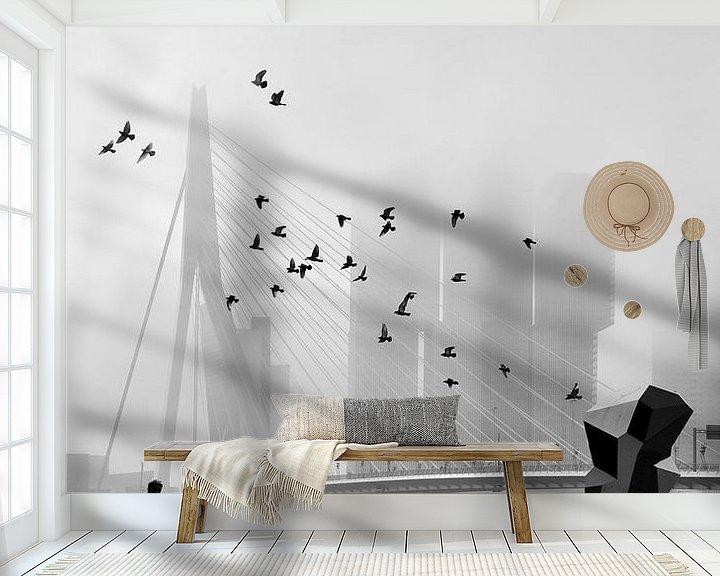 Sfeerimpressie behang: Misty Morning - Erasmusbrug in mist van Hans Zijffers