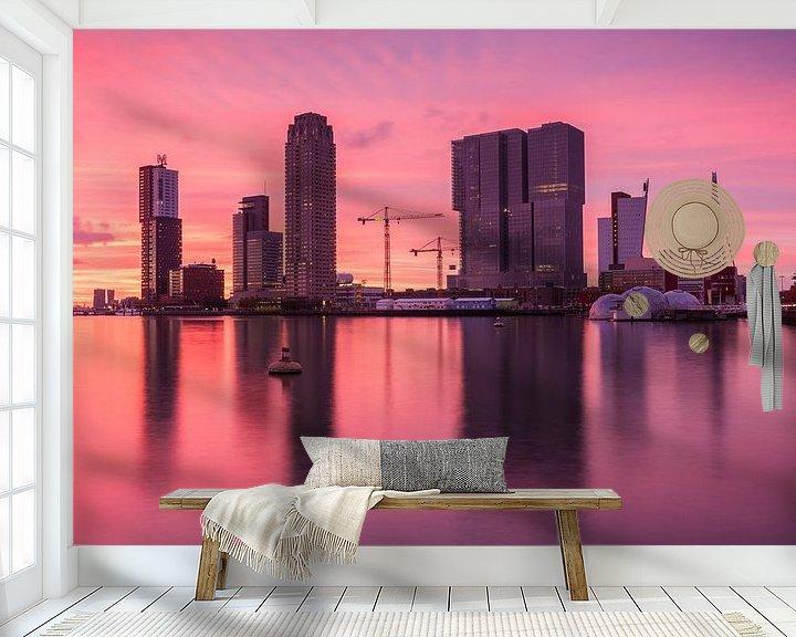 Sfeerimpressie behang: Red sunset in Rotterdam van Ilya Korzelius