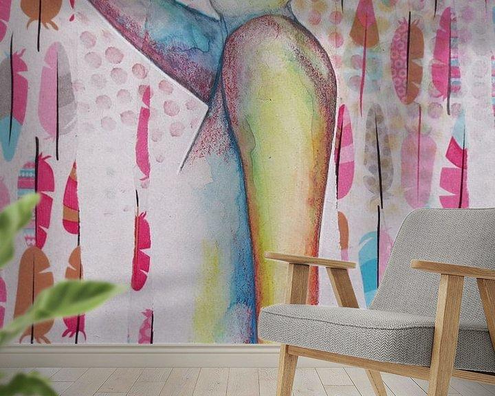 Sfeerimpressie behang: Veertjes zweefvlucht van Helma van der Zwan