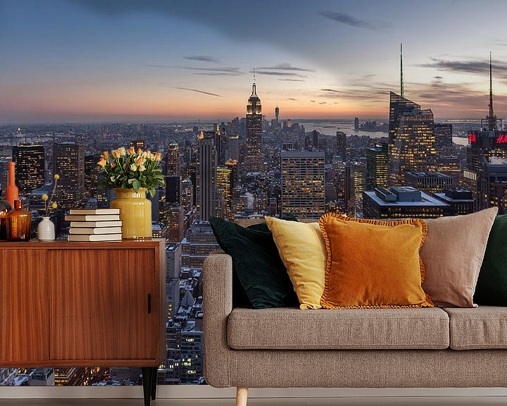Sfeerimpressie behang: New York City - Zonsondergang van Ivo de Bruijn