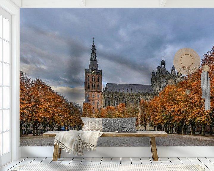 Beispiel fototapete: St. Johannes Kathedrale und die Parade in 's-Hertogenbosch (Herbstfarben) von Fotografie Jeronimo