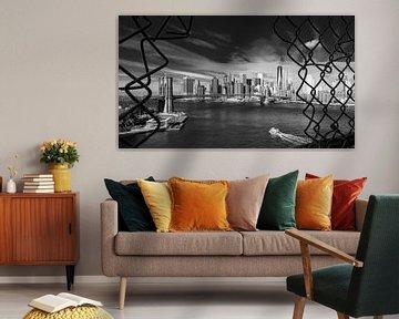 Blick auf die Brooklyn Bridge und South Manhattan