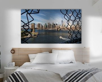 Blick auf die Brooklyn Bridge und Süd Manhattan van Kurt Krause