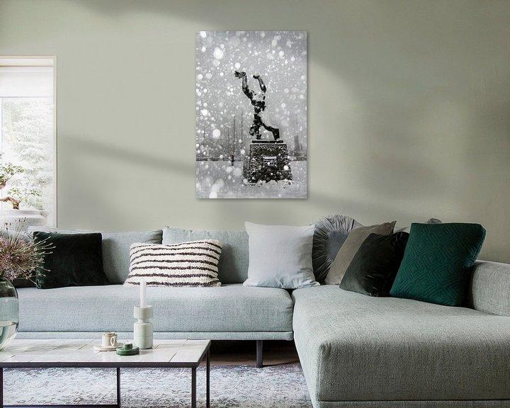 Beispiel: Die Statue von Zadkine Rotterdam im Schnee von Alain Ulmer