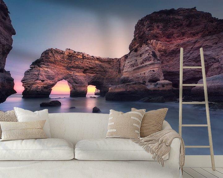 Sfeerimpressie behang: Blue hour in seconds (Praia da Marinha / Algarve / Portugal) van Dirk Wiemer