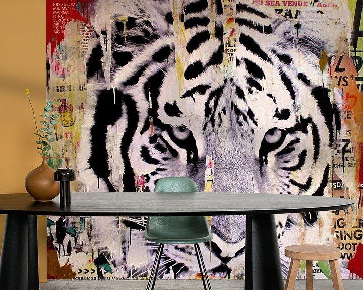 Sfeerimpressie behang: Tigerstyle no2 van Michiel Folkers
