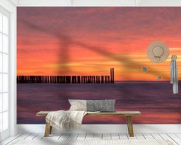 Sonnenuntergangs Strand Domburg von Zeeland op Foto