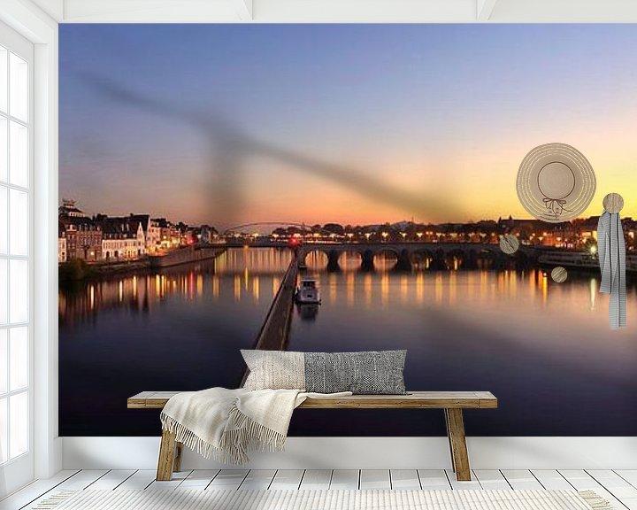 Sfeerimpressie behang: Skyline Maastricht van Pascal Lemlijn