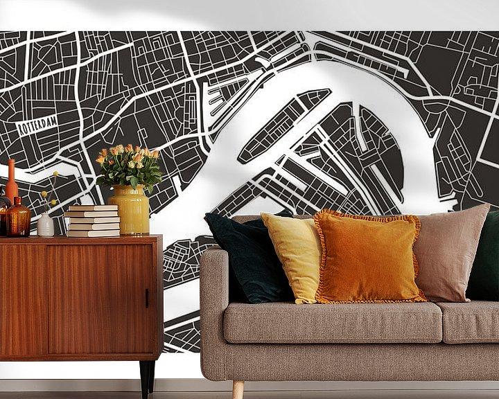 Sfeerimpressie behang: Rotterdam Retro - Map (bruin) van Christian de Leeuw