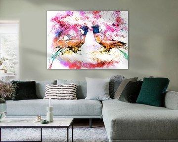 Abstract colored lori birds van Nannie van der Wal