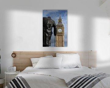 London ... Big Ben and Churchill statue sur Meleah Fotografie